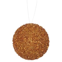"""3ct Orange Sequin and Glitter Drenched Christmas Ball Ornaments 4.75"""" (120mm)"""