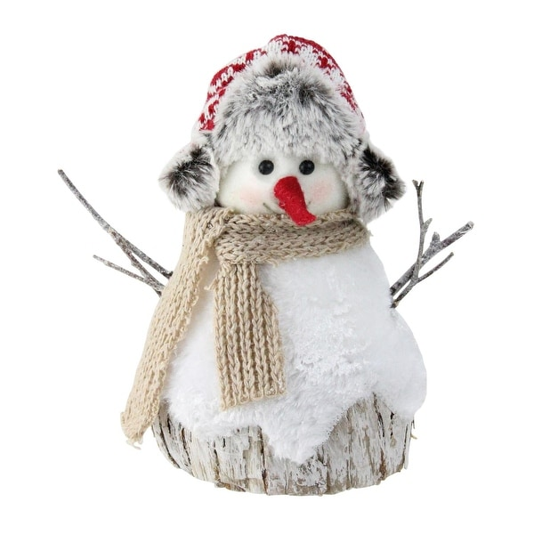 "7"" White and Brown Christmas Snowman Decoration"