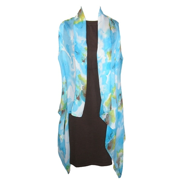 CTM® Women's Sheer Lightweight Floral Vest Shawl - One size