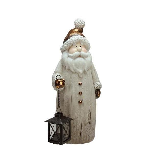 "16.50"" Weathered Santa with Tea Light Candle Lantern Christmas Figure"