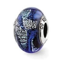 Italian Sterling Silver Reflections Blue Glass Bead (4mm Diameter Hole)