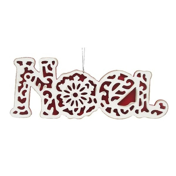 """Red & White Stained Glass """"Noel"""" Christmas Ornament #20545"""