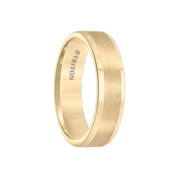 ARMEN Flat Yellow Gold Plated Tungsten Carbide Ring with Satin Finished Center and Polished Edges by Triton Rings - 6mm