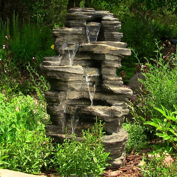 Garden Fountain: Sunnydaze Rock Falls Electric Waterfall Fountain With LED