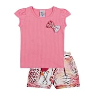 Toddler Girl Outfit Graphic Tee Shirt and Shorts Set Pulla Bulla Sizes 1-3 Years