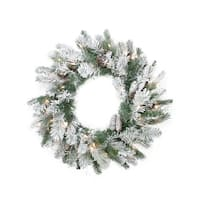 "24"" Pre-Lit Flocked Victoria Pine Artificial Christmas Wreath -  Clear Lights"