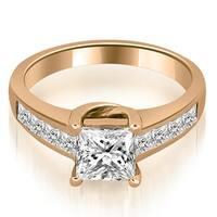 1.25 cttw. 14K Rose Gold Channel Princess Cut Diamond Engagement Ring,HI,SI1-2