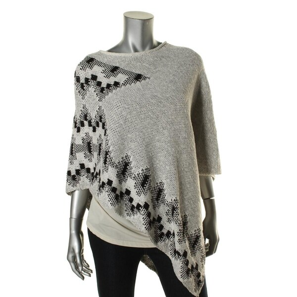 Two by Vince Camuto Womens Poncho Printed Knit