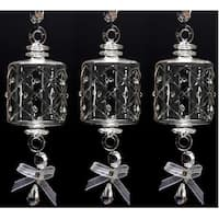 """Set of 3 Mouth Blown Egyptian Crystal Barrel Shaped Drop Christmas Ornament 6.5"""""""