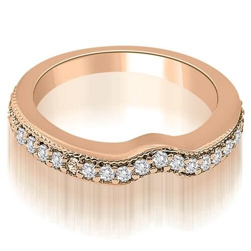 0.29 cttw. 14K Rose Gold Curved Round Cut Diamond Wedding Ring