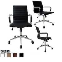 2xhome Black Designer Mid Back PU Leather Office Chair Ribbed Swivel Tilt Conference Room Boss Home Work Task Manager Desk Guest