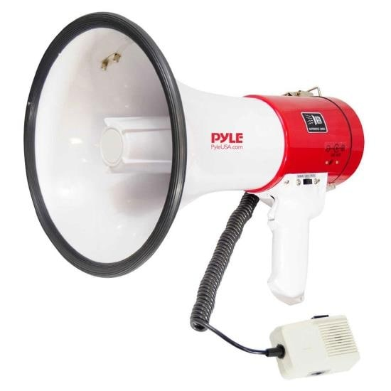 Megaphone Bullhorn with Talk & Siren Modes, Handheld Microphone, MP3/USB Reader