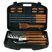 Mr Bar B Q 94001X 18 Piece Barbecue Tool Set - Hardwood Handles