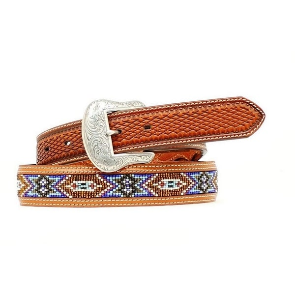 Nocona Western Belt Mens Leather Southwest Beaded Brown Blue