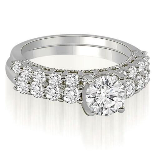 1.95 cttw. 14K White Gold Antique Milgrain Round Cut Diamond Bridal Set