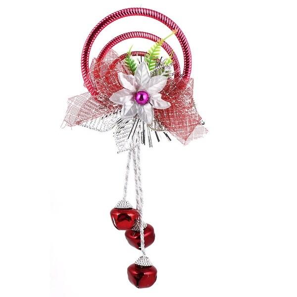 Unique Bargains Plastic Rings Metal Bell Pendant Burgundy for Xmas Tree Dangling Ornament