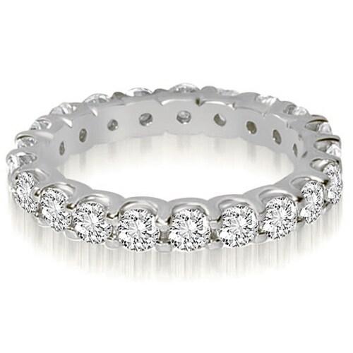 14K White Gold 2.80 cttw. Round Shared Prong Diamond Eternity Ring HI,SI1-2