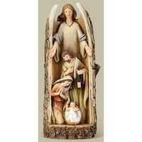"""12"""" Joseph Studio Angel with Holy Family Carved in a Log Religious Table Top Figure"""