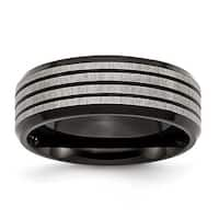 Stainless Steel 8mm Black-plated & Striped Brushed & Polished Band