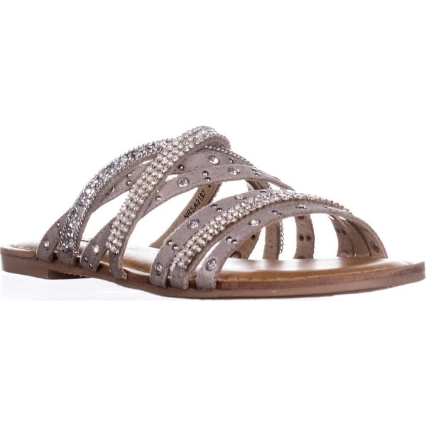 Not Rated Caviar Strappy Slide Sandals, Silver - 8 us / 39 eu