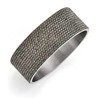 Chisel Stainless Steel Polished Black Enamel with Crystals Wide Flat Bangle