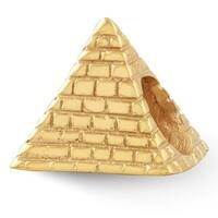 Sterling Silver Reflections Gold-plated Pyramid Bead (4mm Diameter Hole)