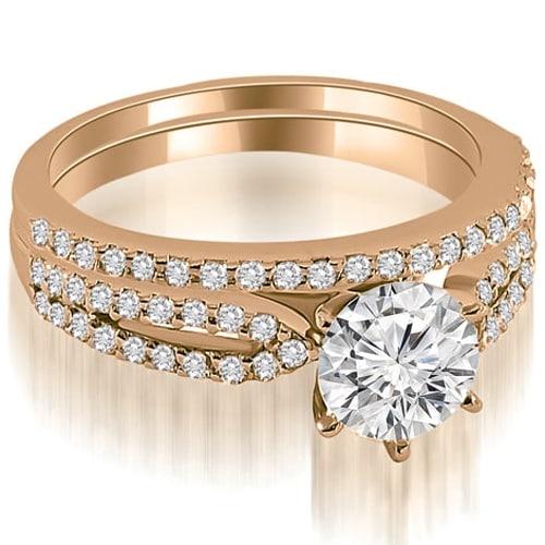 1.22 cttw. 14K Rose Gold Cathedral Split Shank Round Diamond Bridal Set
