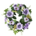 """18"""" Decorative Purple and Green Gerbera Daisy and Pansy Flowers Artificial Spring Floral Wreath - Thumbnail 0"""