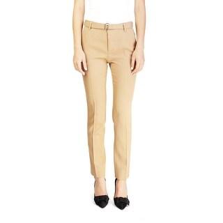 Miu Miu Women's Virgin Wool Slim Fit Pants Brown