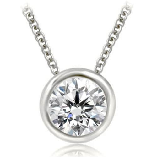 0.50 cttw. 14K White Gold Round Cut Diamond Solitaire Bezel Pendant