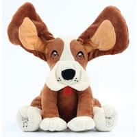 Musical Peek-a-Boo Animated Plush Dog - Floppy-Eared Singing and Moving Stuffed Puppy Toy for Kids - Battery Operated