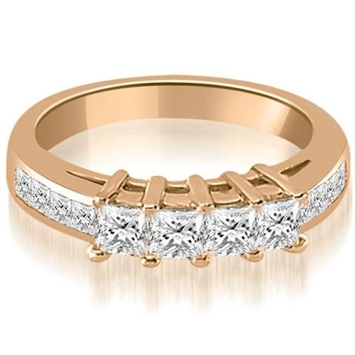 1.35 cttw. 14K Rose Gold Channel Set Princess Cut Diamond Wedding Band