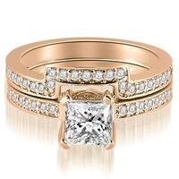 1.15 cttw. 14K Rose Gold Princess And Round Cut Diamond Bridal Set