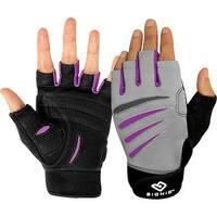 Bionic Women's Cross-Training Fingerless Fitness Gloves - Gray/Black/Purple