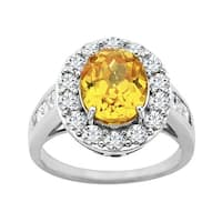 Ring with Yellow and White Cubic Zirconia in Sterling Silver