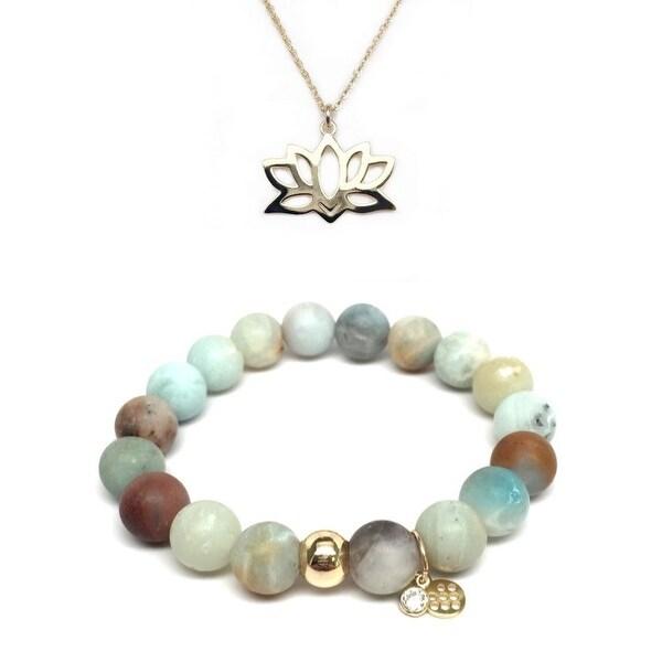 Green Amazonite Bracelet & Lotus Flower Gold Charm Necklace Set