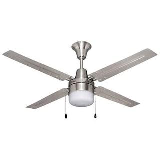 Contemporary 52 Inch Nickel 2 Light Ceiling Fan 13821480