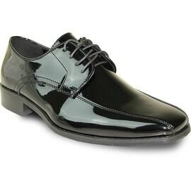 VANGELO Men Dress Shoe TUX-5 Oxford Formal Tuxedo for Prom & Wedding Shoe Black Patent -Wide Width Available