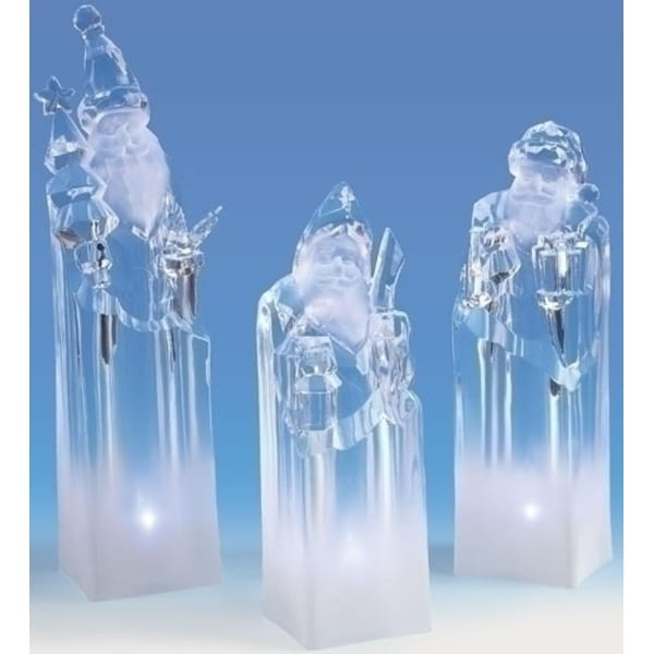 """Pack of 3 Icy Crystal LED Lighted Santa Claus Block Figures 8.5"""""""
