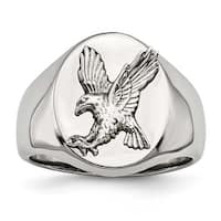 Stainless Steel Polished with Sterling Silver Rhodium-plated Eagle Ring (19 mm) - Sizes 9 - 12