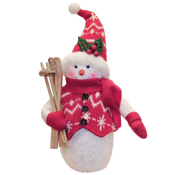 """10"""" Alpine Chic Red and White Sparkling Snowman with Skiis Christmas Decoration"""