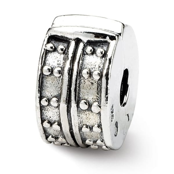 Sterling Silver Reflections Hinged Dotted Clip Bead (4mm Diameter Hole)