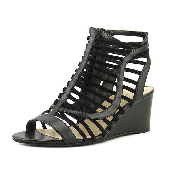 Via Spiga Emily Women Open Toe Leather Black Wedge Sandal