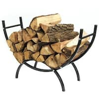 Sunnydaze Curved Firewood Log Rack - Options Available - Black
