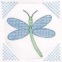 "Dragonfly - Stamped White Quilt Blocks 9""X9"" 12/Pkg"