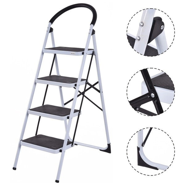 Costway 4 Step Ladder Folding Stool Heavy Duty 330Lbs Capacity Industrial Lightweight