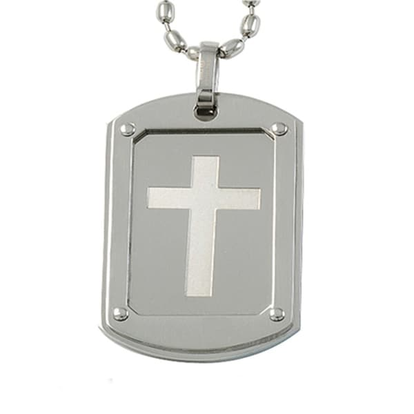 Stainless Steel Cross Dog Tag Pendant - 24 inches