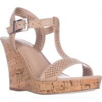 Charles Charles David Law Platform Wedge Sandals, Nude