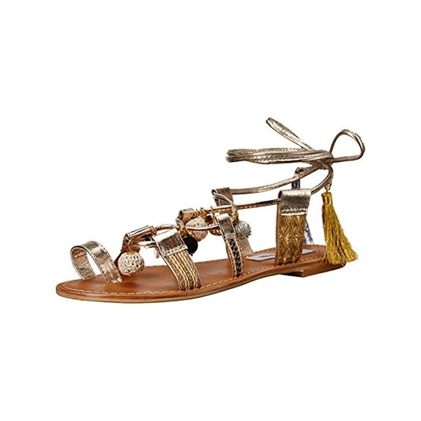 Steve Madden Womens Rambel Flat Sandals Embellished Toe Loop