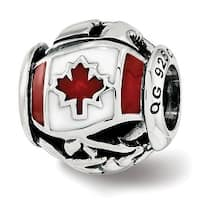 Sterling Silver Reflections Enameled Canada Theme Bead (4.5mm Diameter Hole)